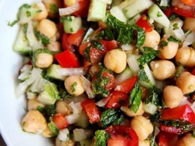 Summer chickpea salad with lemon and mint