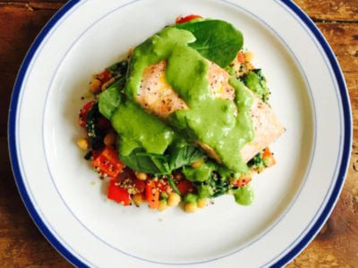 Grilled Salmon with Brazil Nut & Spinach Pesto & Quinoa Salad