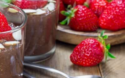 Chocolate banana smoothie with chia seeds & nuts