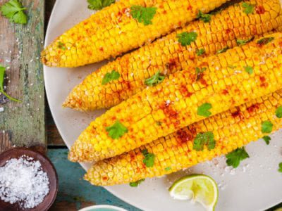 Corn on the cob with chilli, lime and coriander butter