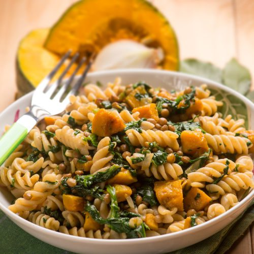 pumpkin and spinach pasta
