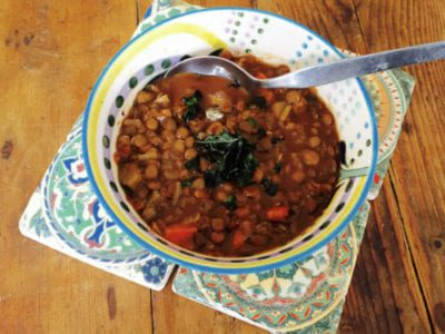 Lentil Soup with Crispy Kale