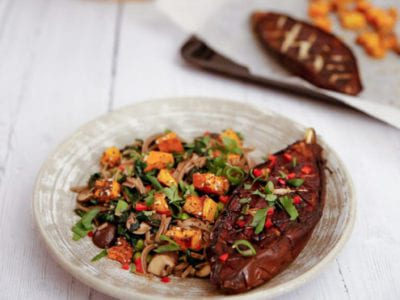 Miso aubergine with soba noodles