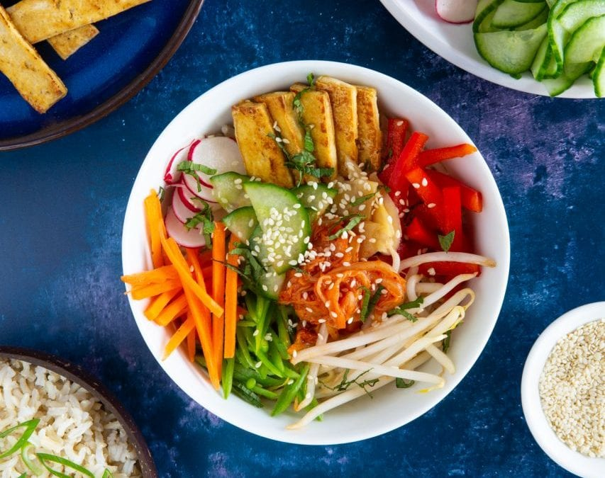 Tofu bibimbap (Korean rice bowl)